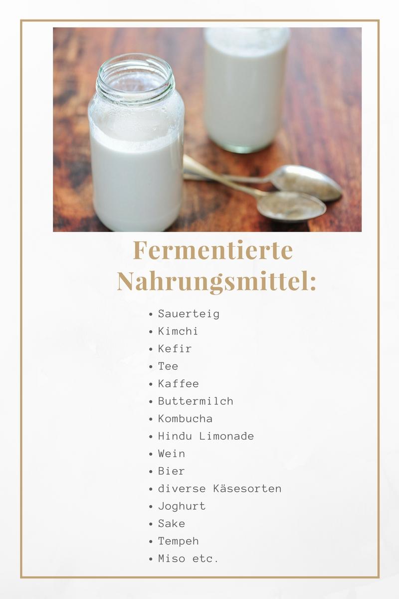fermentierte Nahrungsmittel und Getränke Übersicht