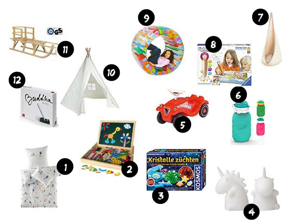 Collage der Geschenke für Kinder