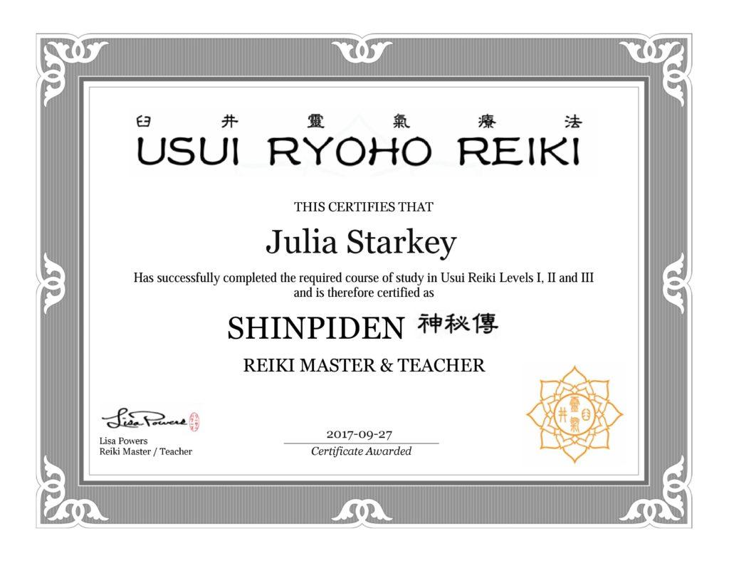 Reiki Master and Teacher Zertifikat