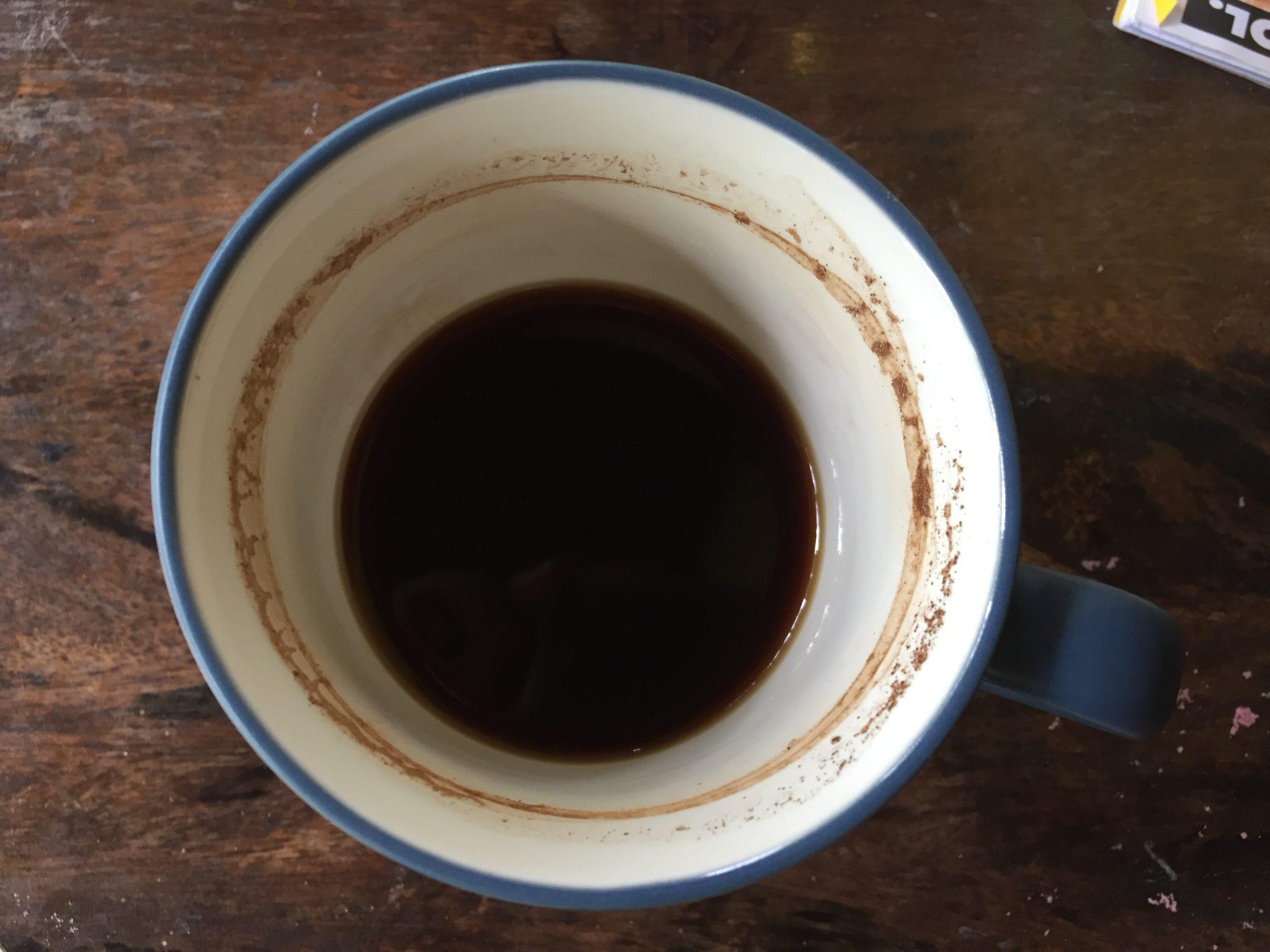 Kaffeetasse fast leer.