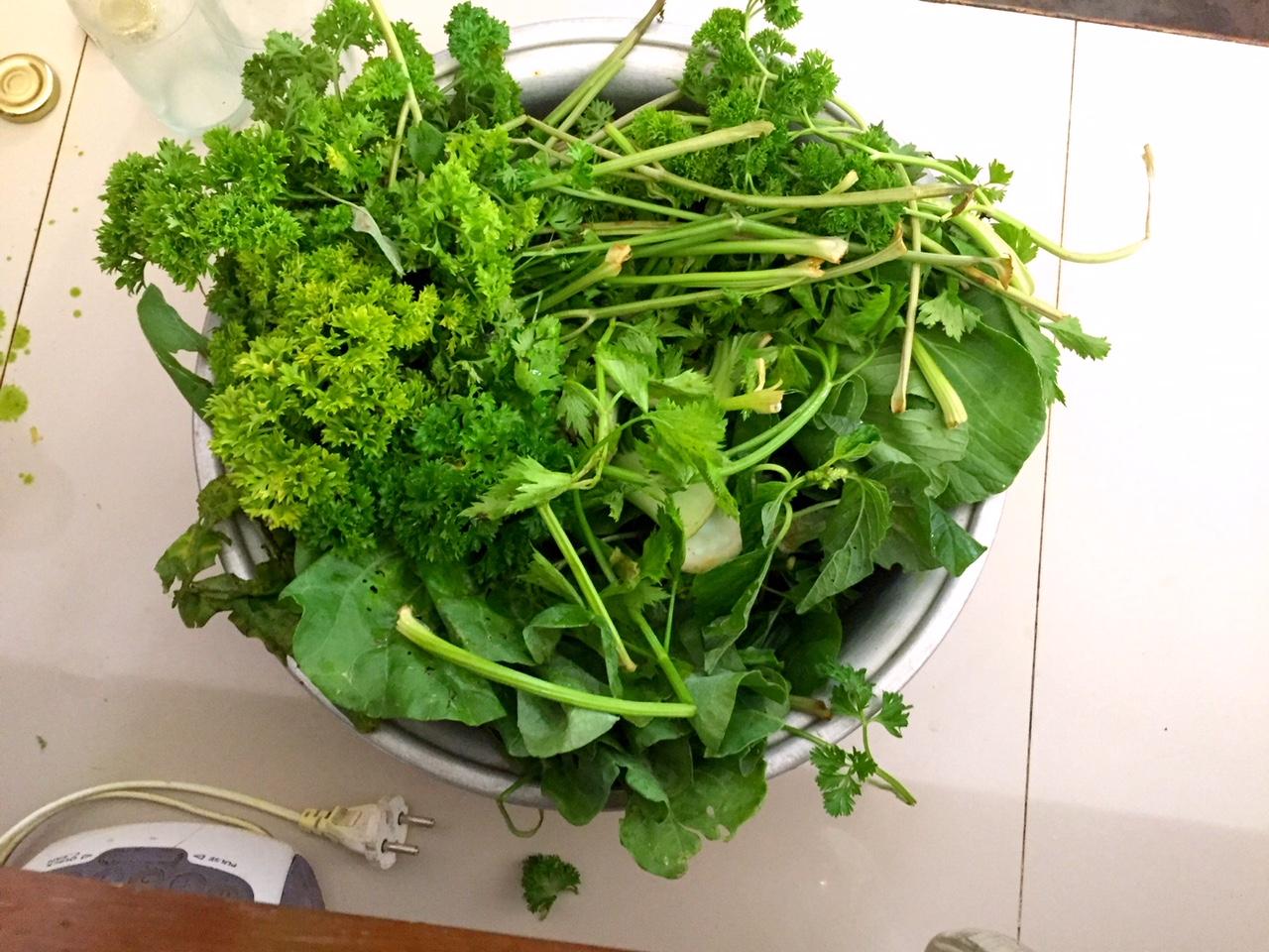 Zutaten für den grünen Saft.