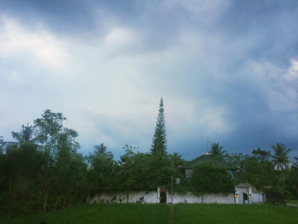 Dunkle Regenwolken über Ubud